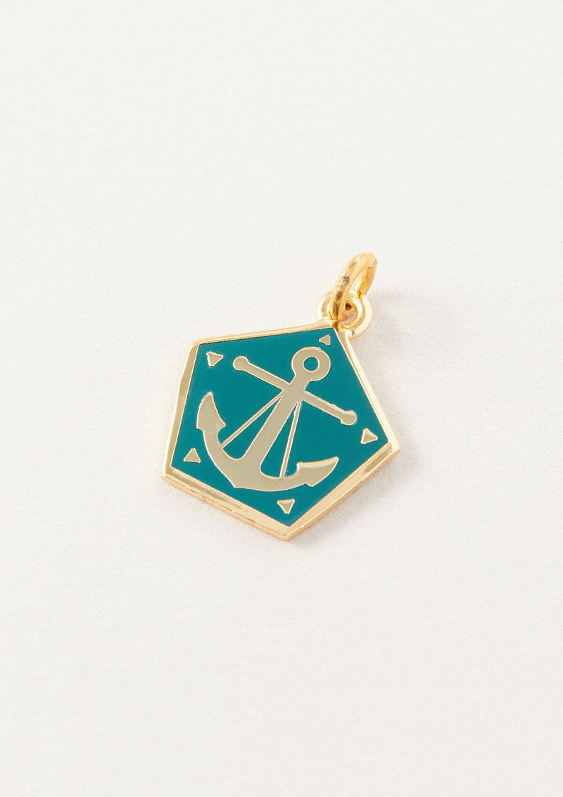 AIR AND ANCHOR Blue Anchor Necklace Charm in Gold