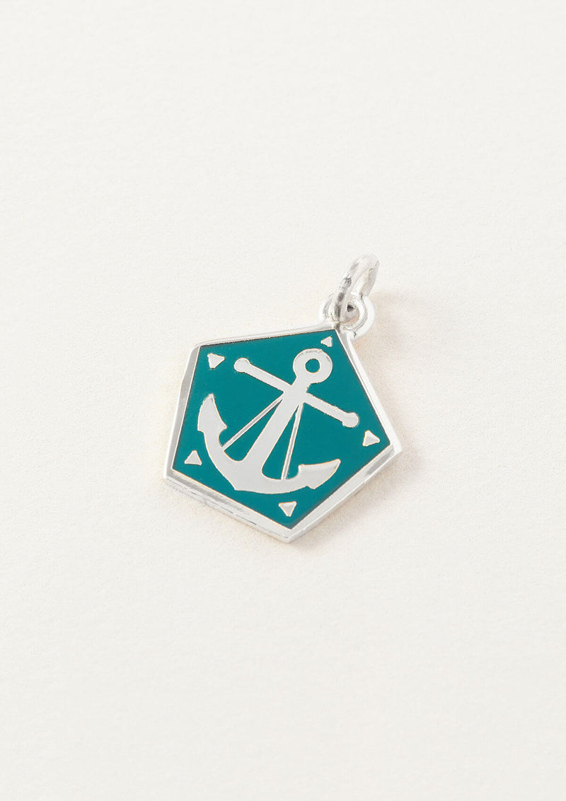 AIR AND ANCHOR Blue Anchor Necklace Charm in Silver