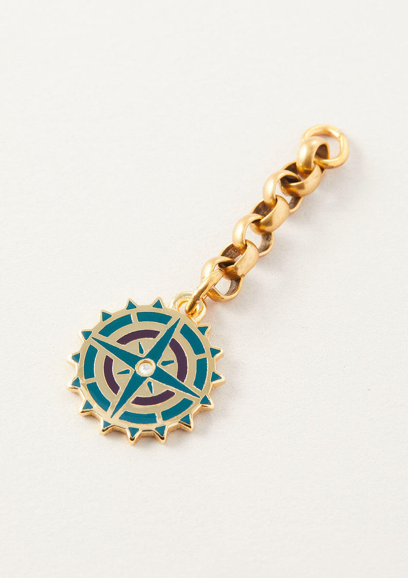 AIR AND ANCHOR's Blue Compass Necklace Charm on a Chain Necklace Extender in Gold