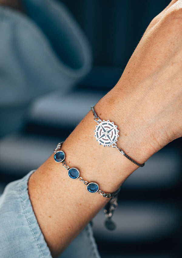 Compass Charm Adjustable Chain Bracelet