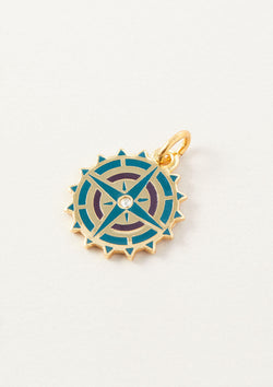 AIR AND ANCHOR Blue Compass Necklace Charm in Gold