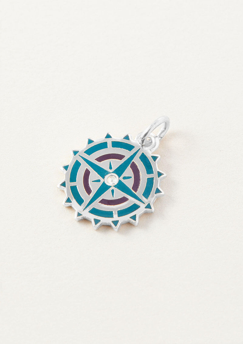 AIR AND ANCHOR Blue Compass Necklace Charm in Silver