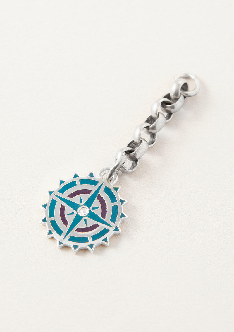 AIR AND ANCHOR's Blue Compass Necklace Charm on a Chain Necklace Extender in Silver