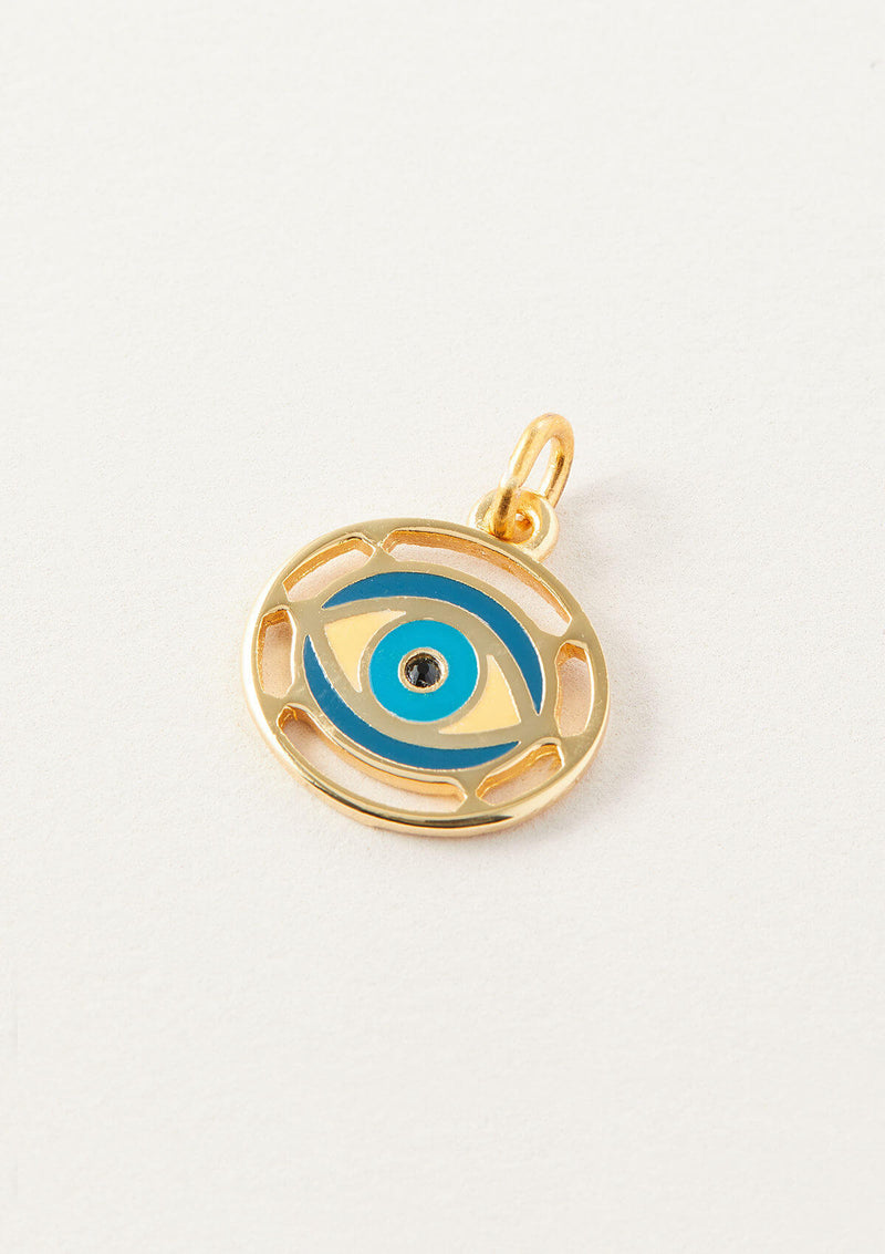 AIR AND ANCHOR gold evil eye charm with blue accents