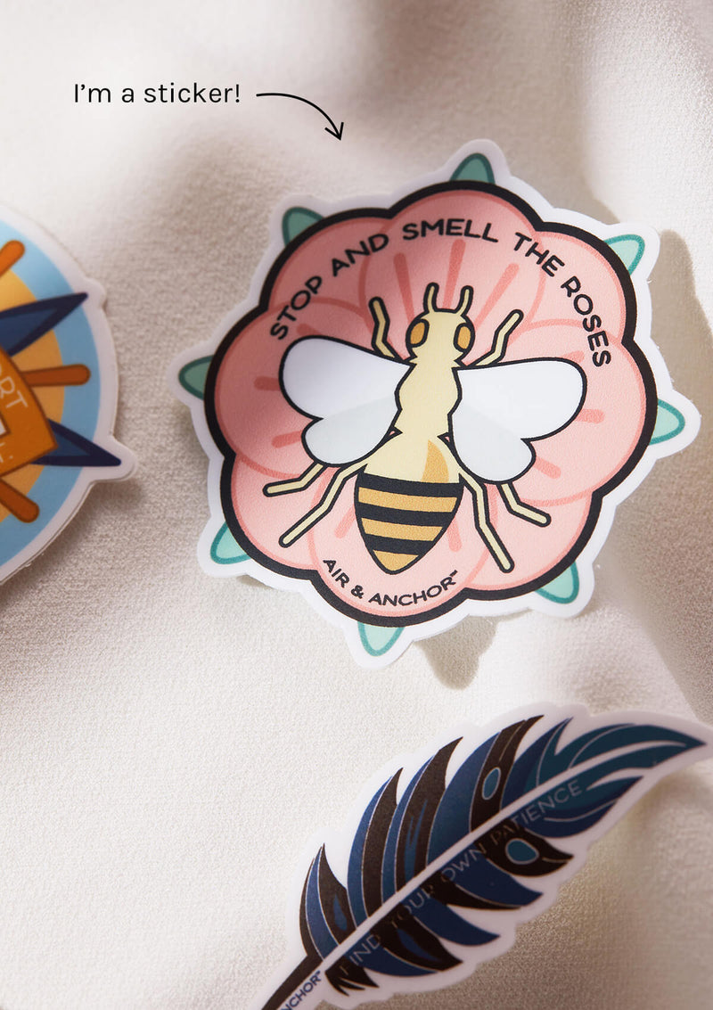 Bee Sticker that comes in the packaging of AIR AND ANCHOR's bee product packaging