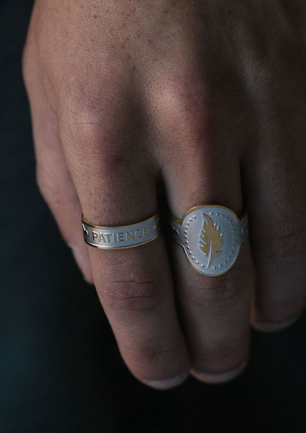 Feather Cigar Ring in Sterling Silver