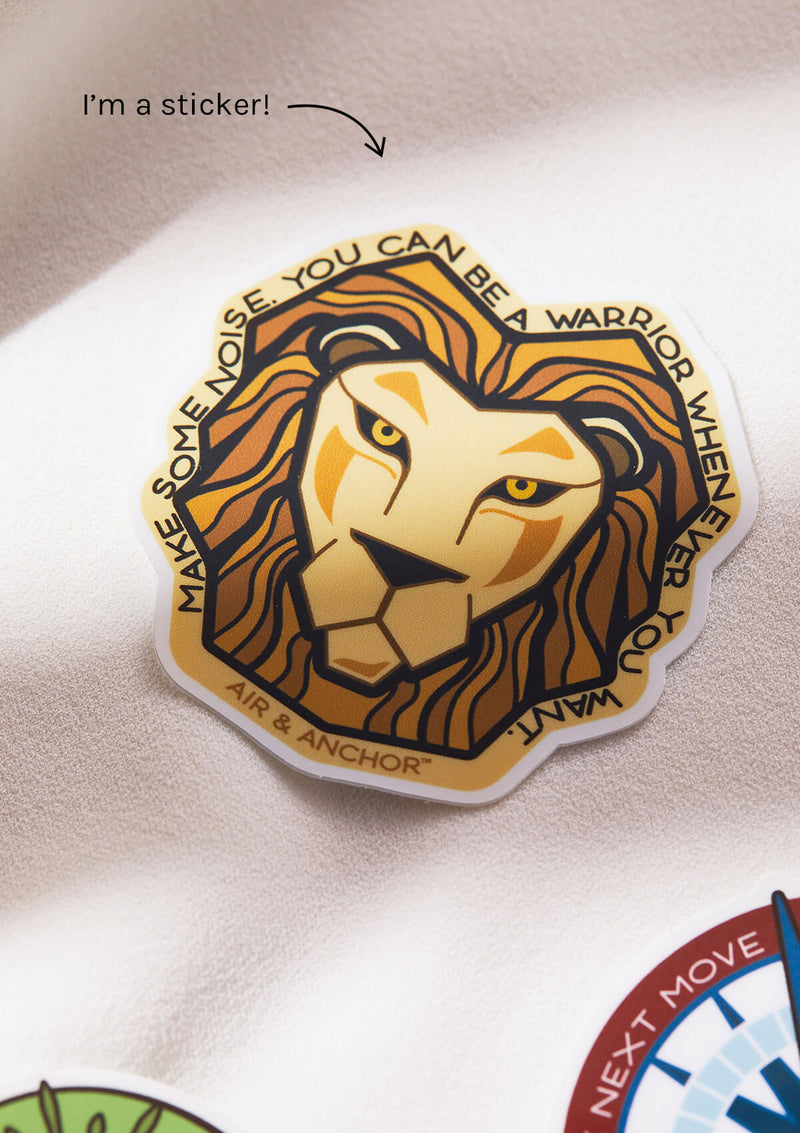 Lion sticker that comes in every lion product from Air and Anchor