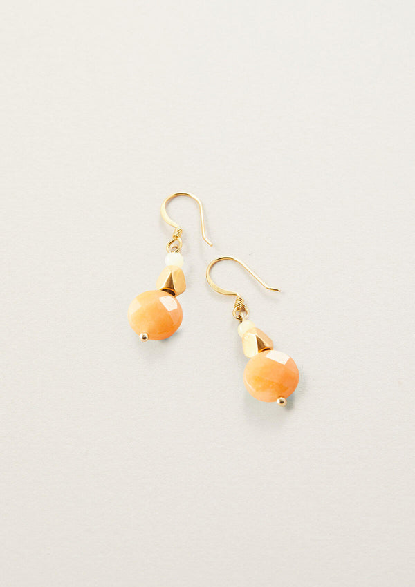 Pretty Pumped Orange Aventurine Round Drop Earrings