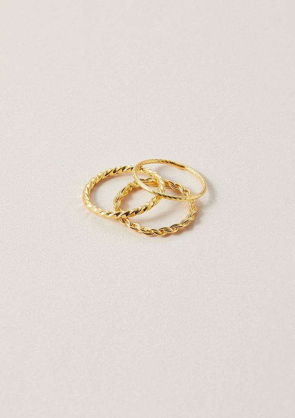 Three 18k gold plated sterling silver stackable rings in sizes 6 to 9