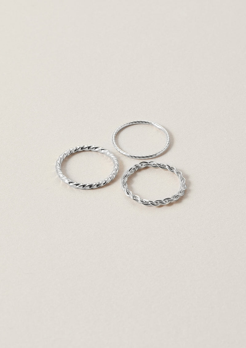 Minimal stack of three sterling silver rings