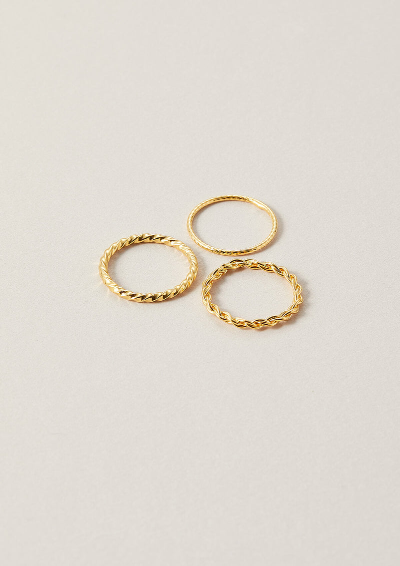 Stackable thin rings in 18k gold plated sterling silver