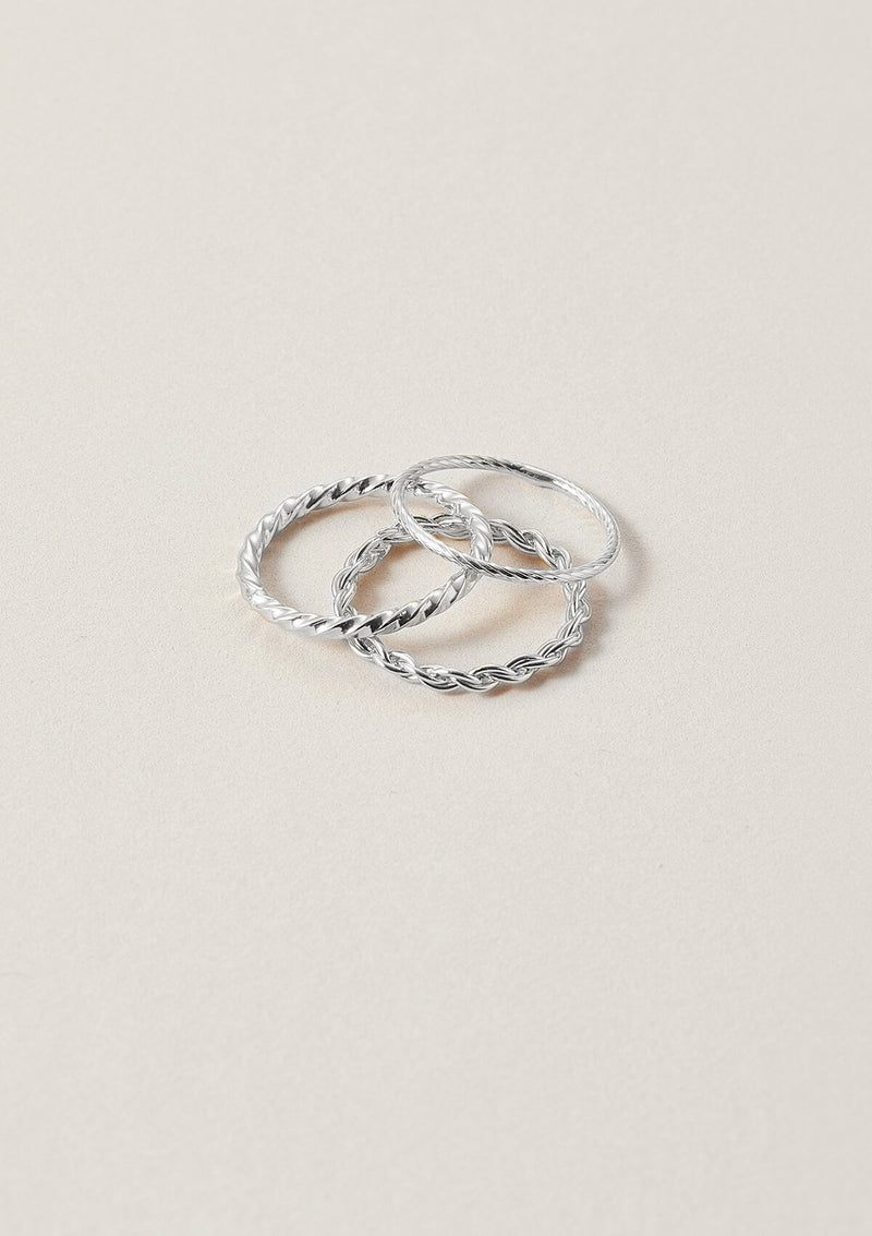 Stack of Three Sterling Silver Minimalist Rings