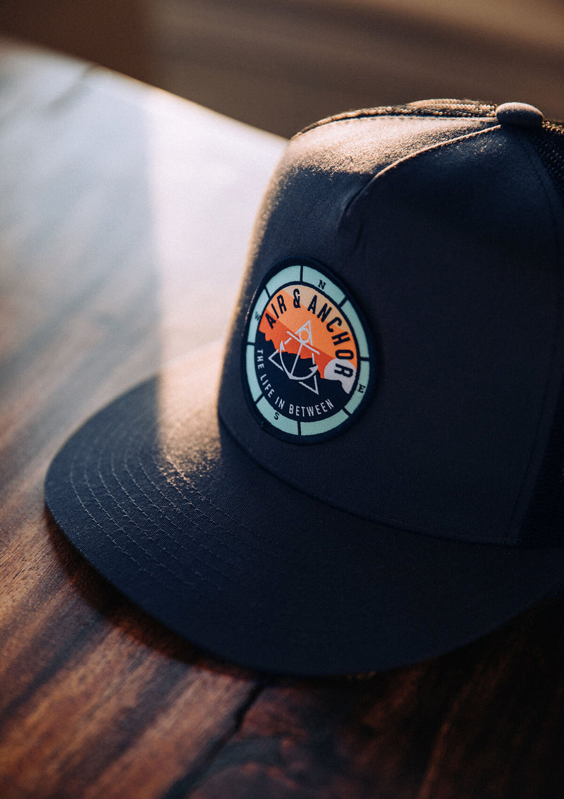 Trucker Hat in Navy with Air and Anchor Patch