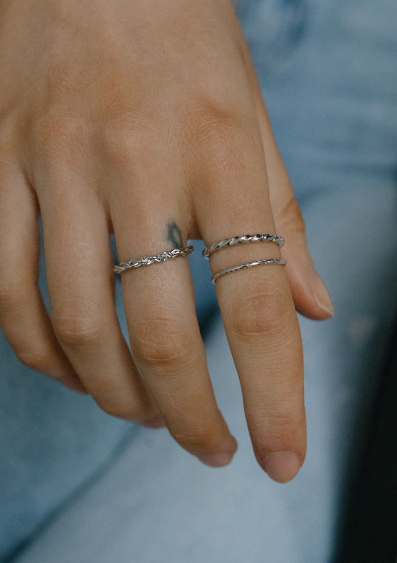 Sterling Silver Twisting Ring Stack Set of 3
