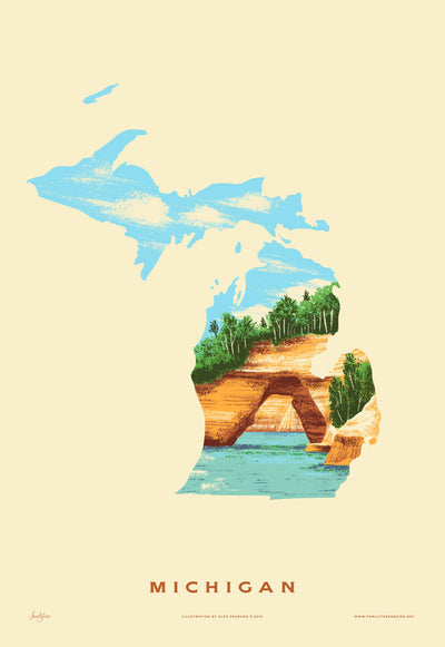 Michigan State Print -  Pictured Rocks