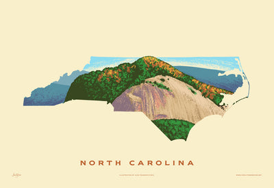 North Carolina State Print - Looking Glass Rock