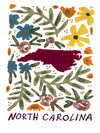 North Carolina American Gouache Print