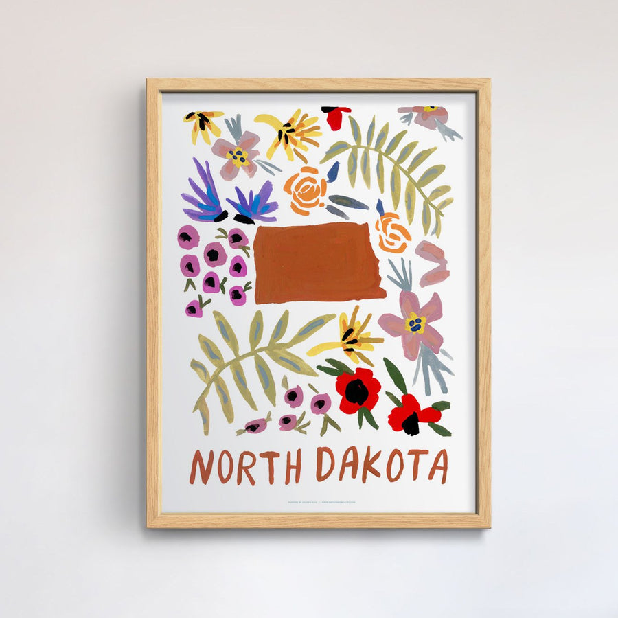 North Dakota American Gouache Print