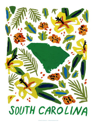 South Carolina American Gouache Print