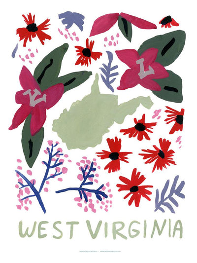 West Virginia American Gouache Print