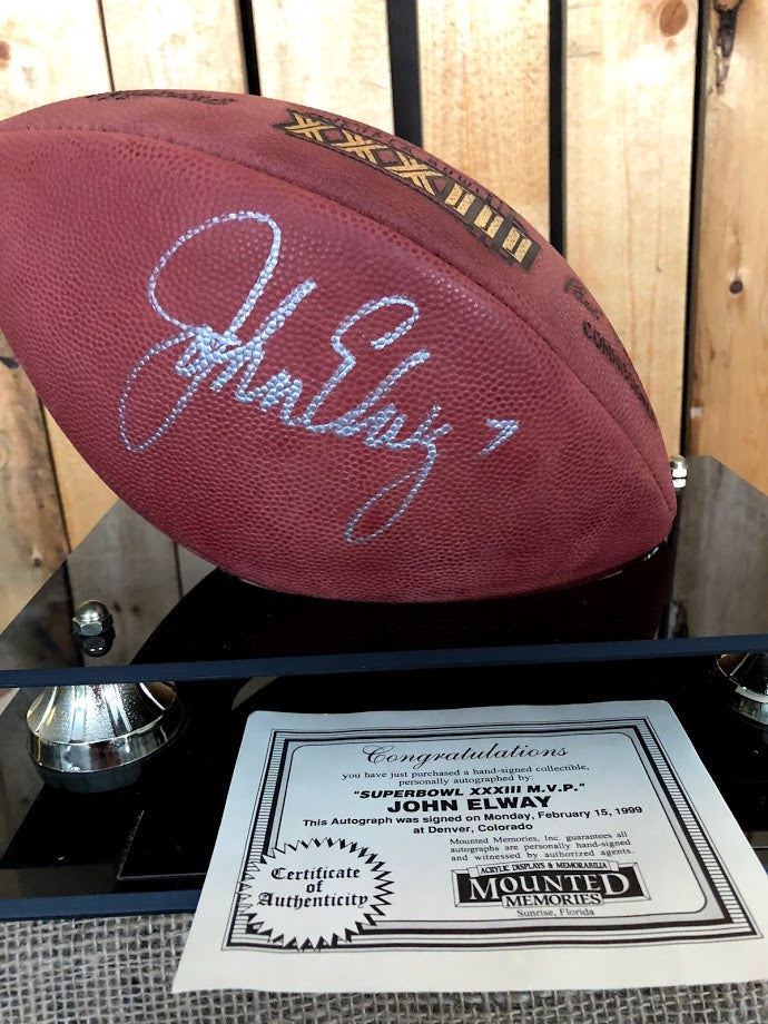John Elway Signed Football on Display Stand Hall of Fame 2004 with ... 34cc5cb36