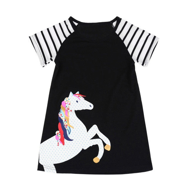 Black Short Sleeve Horse Dress