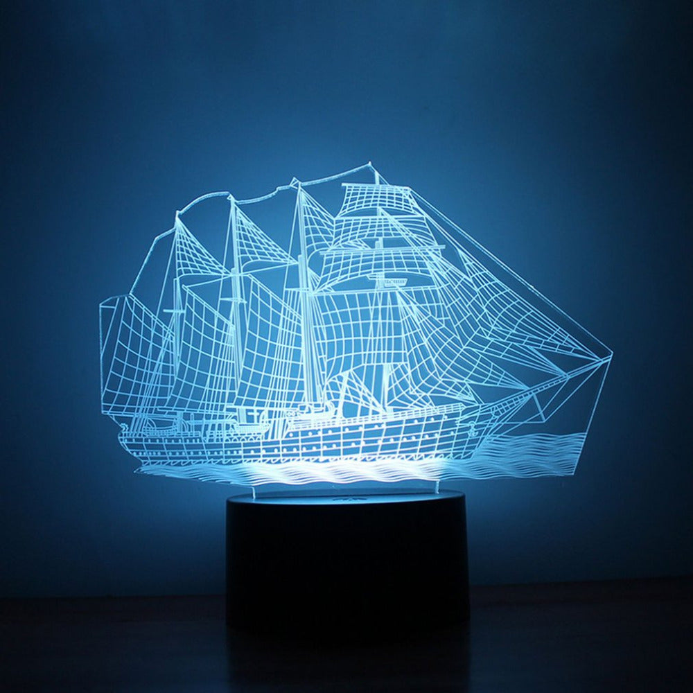 Unique 3D Small Night Light Sailing Ship Pattern 7 Color LED Night Light Lamp for Children Gift