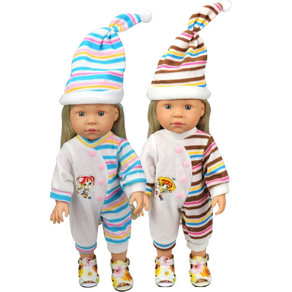 Stripes Rompers Jumpsuit Pajames Outfits With Hat For 16 inch American Girl Doll