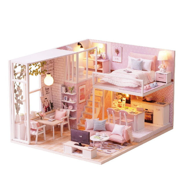 CUTEBEE DIY Doll House Wooden Doll Houses Miniature dollhouse Furniture Kit Toys for children.