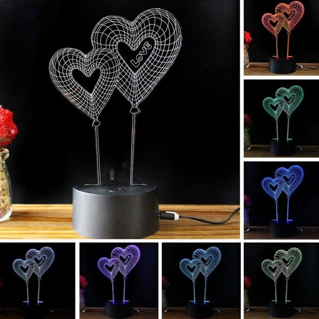Romantic Design Touch Switch Table Desk Light 3D Acrylic