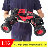 2.4GHz JJRC Amphibious RC car 4WD 1:16. Great Fun and fast radio controlled car. Resistant waterproofing. 25km/h four wheel drive.  Double turn steering and climb kids toy.