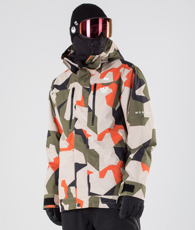 Fawk Ski Jacket Orange Green Camo