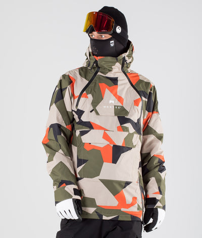 Doom Ski Jacket Orange Green Camo
