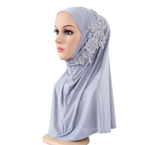 ab763bee2f660 Muslim Fashion Women's Hijabs Fashion Lace Diamonds Hijab/Scarf/Cap Full  Cover Inner Cotton