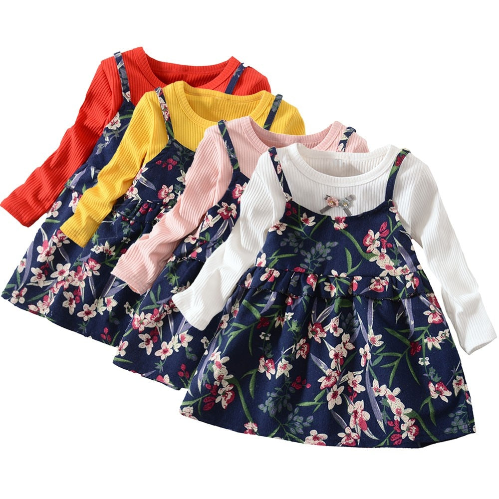 0410aacee Toddler Baby Girls Long Sleeve Floral Flower Print Dress Outfits ...