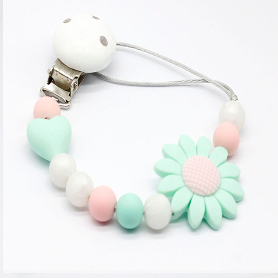 New Silicone and Wood Pacifier Clip Dummy Clip Cute Soother Chains baby Teething Toy Infant Soother Nipple Strap Chain Gift