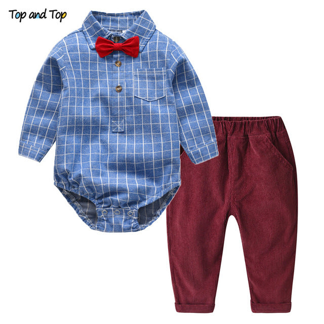 250443465 ... Top and Top Toddler Baby Boys Clothing Set Gentleman Long Sleeve Plaid  Rompers Shirt+Jeans ...