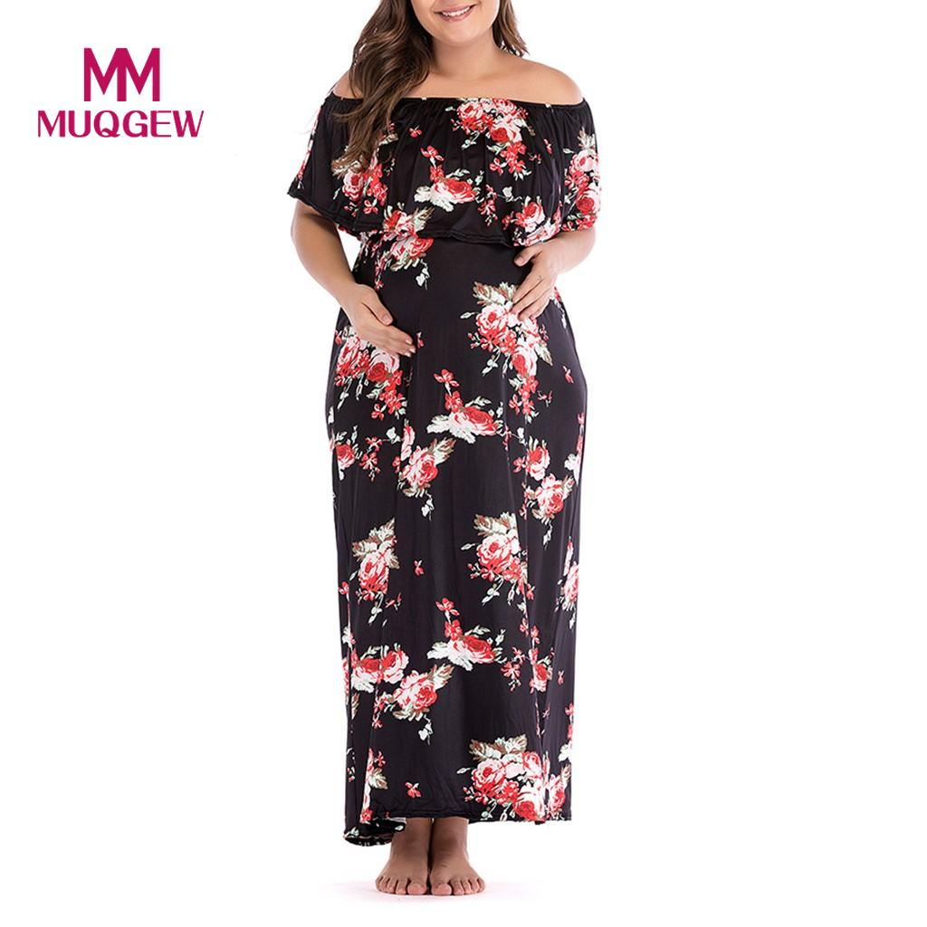 1b8adc6426ad9 Women's Pregnancy Off Shoulder Floral Dress Maternity Lady's Sundress  Clothes maternity dresses pregnant woman clothes #SS