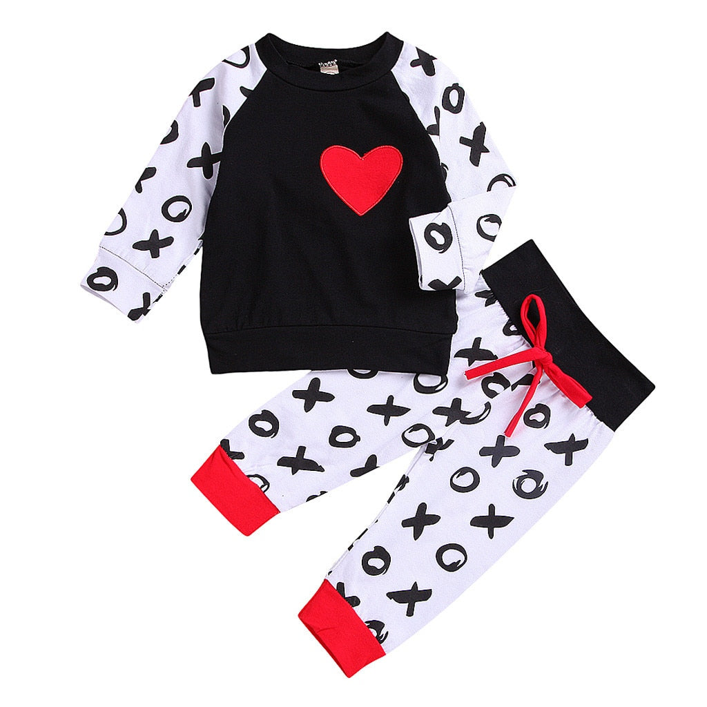 d358eb4e5b0b TELOTUNY children clothing set Newborn Infant Baby Girl Boy Heart T shirt  Tops Pants Clothes Valentine ...