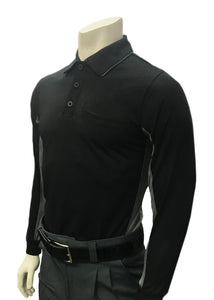 "BBS315 - ""BODY FLEX"" Smitty ""Major League"" Style Long Sleeve Umpire Shirt - Black w/ Charcoal or Sky Blue w/ Black"