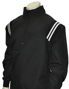 BBS322-Smitty Long Sleeve Microfiber Shell Pullover Jacket w/ Half Zipper w/ Open Bottom - Available in Black Only