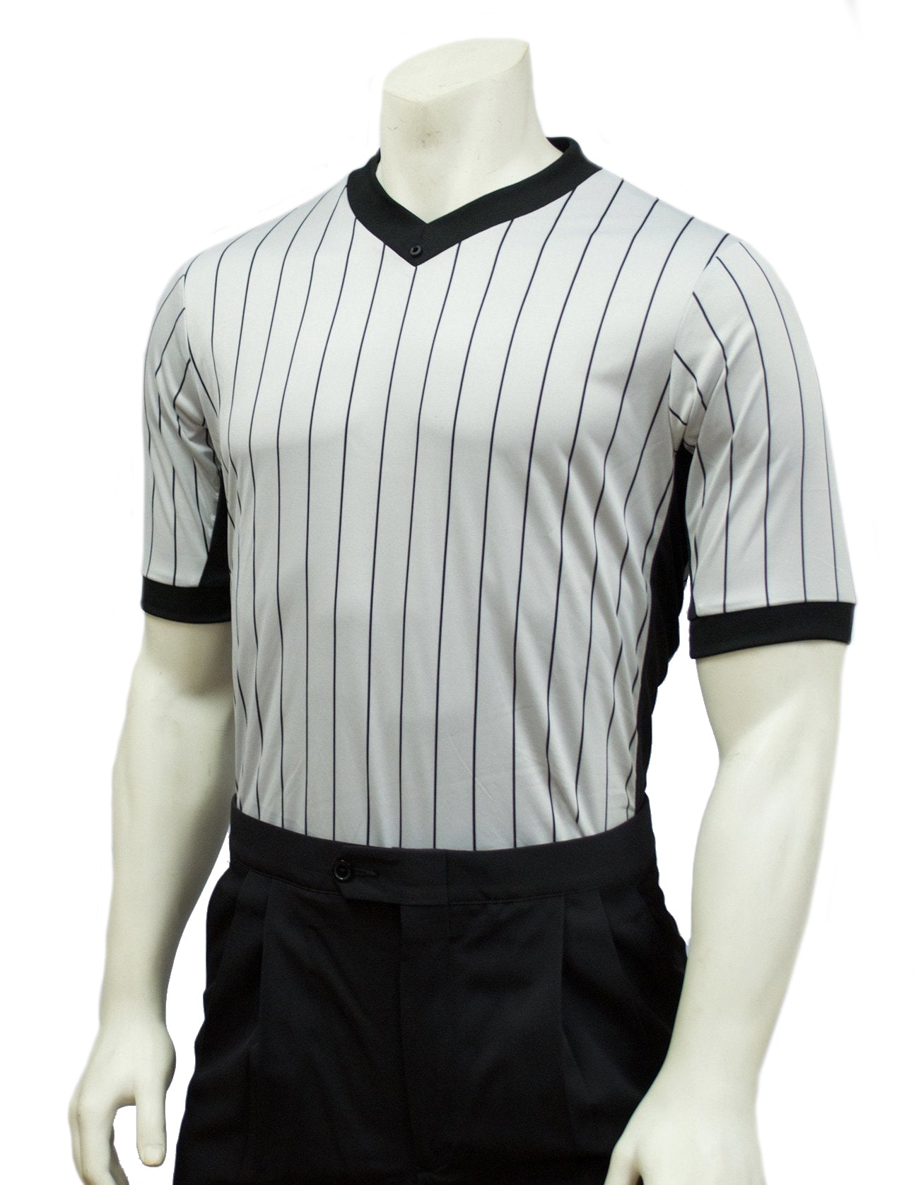 BKS206-Smitty Grey Elite Performance Interlock V-Neck Shirt w/ Black Pinstripe and Side Panel