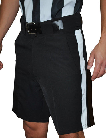 "FBS177 - Smitty 4-Way Stretch Black Shorts with 1 1/4"" White Stripe"