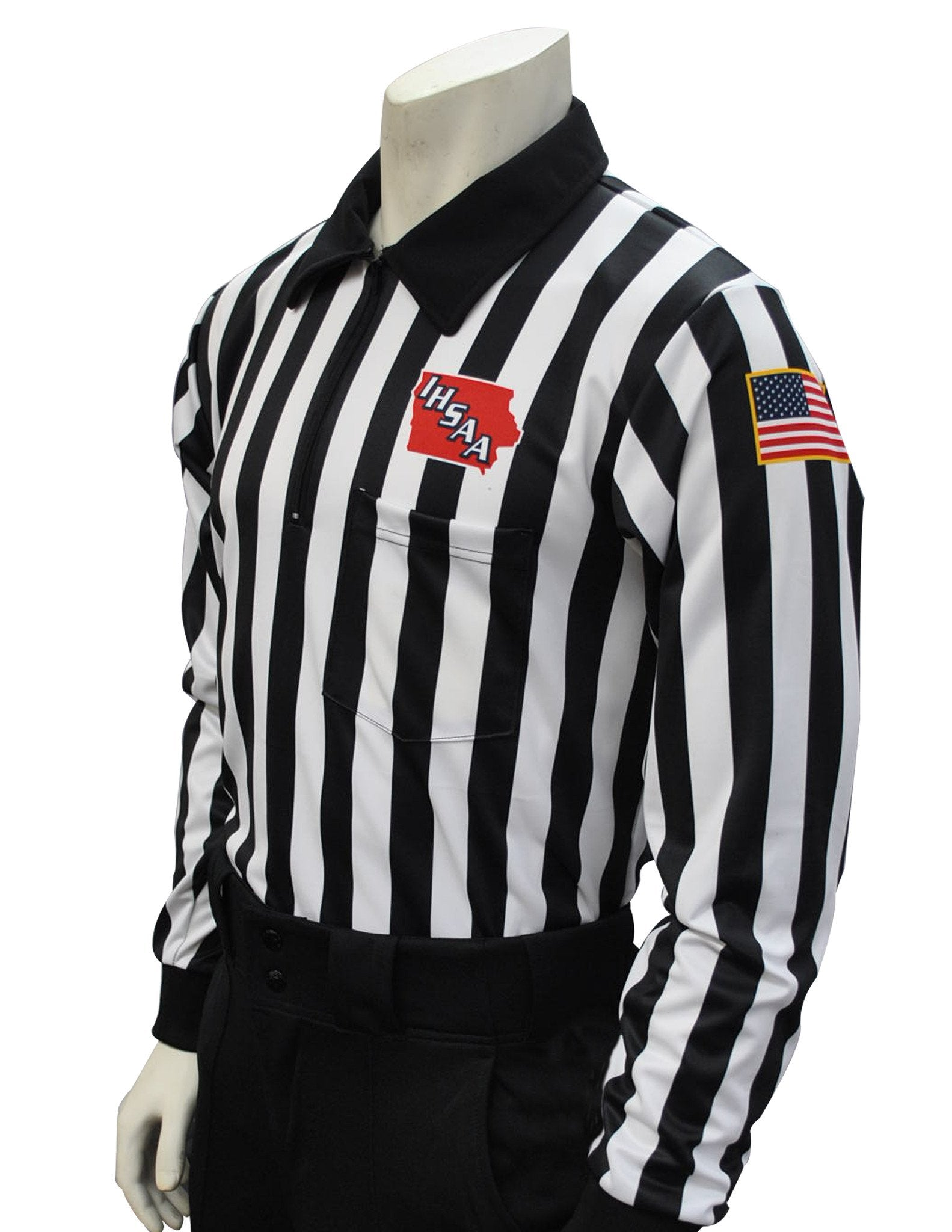 "USA730100IA - Smitty ""Made in USA"" - Dye Sub Iowa Football Foul Weather Water Resistant Long Sleeve Shirt 1inch Stripe"