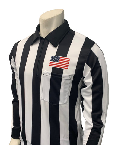 "USA118 - Smitty ""Made in USA"" - Dye Sub Football Long Sleeve Shirt w/ Flag Over Pocket"