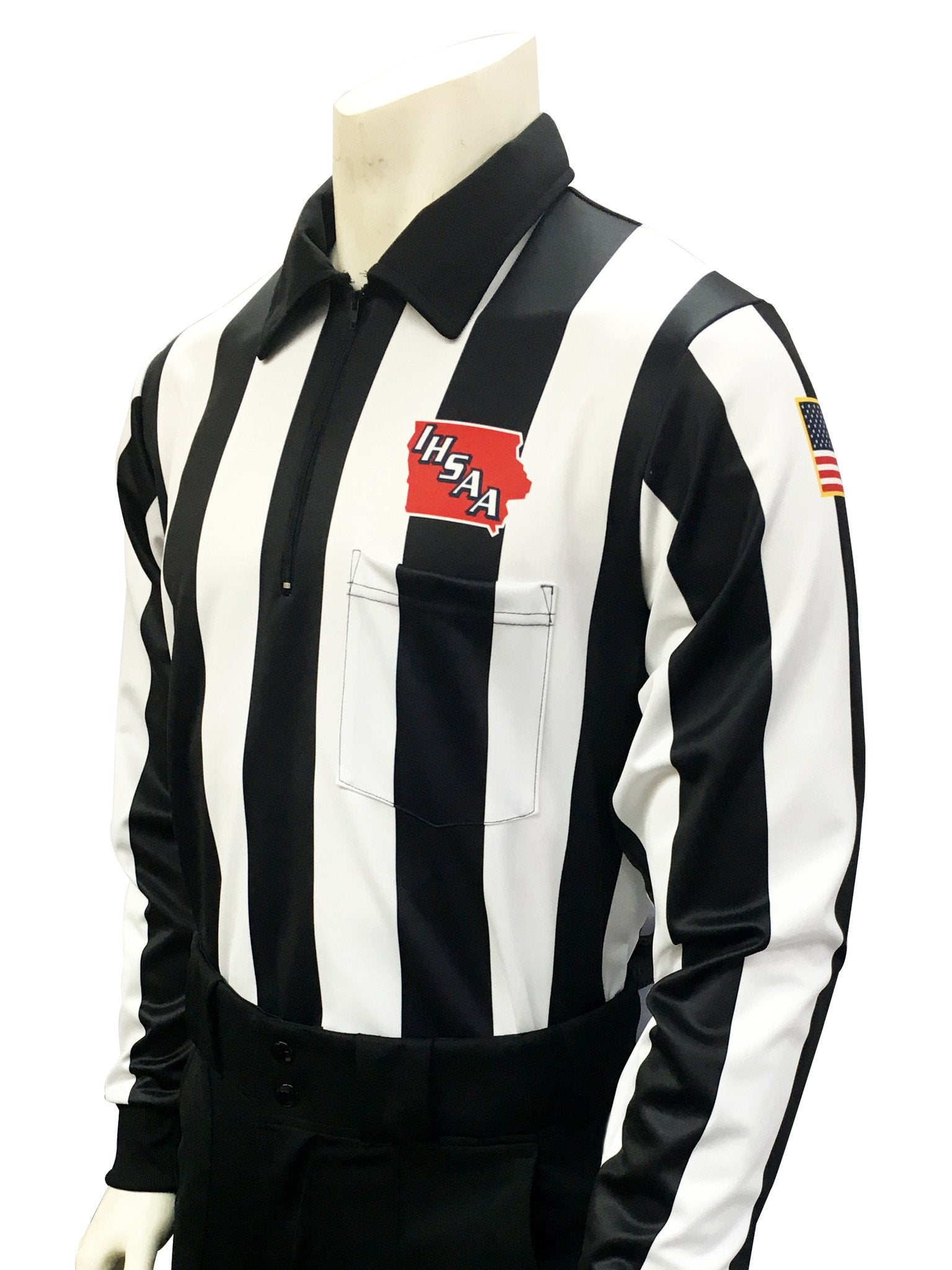 "USA730225IA - Smitty ""Made in USA"" - Dye Sub Iowa Football Foul Weather Water Resistant Long Sleeve Shirt 2.25inch Stripe"