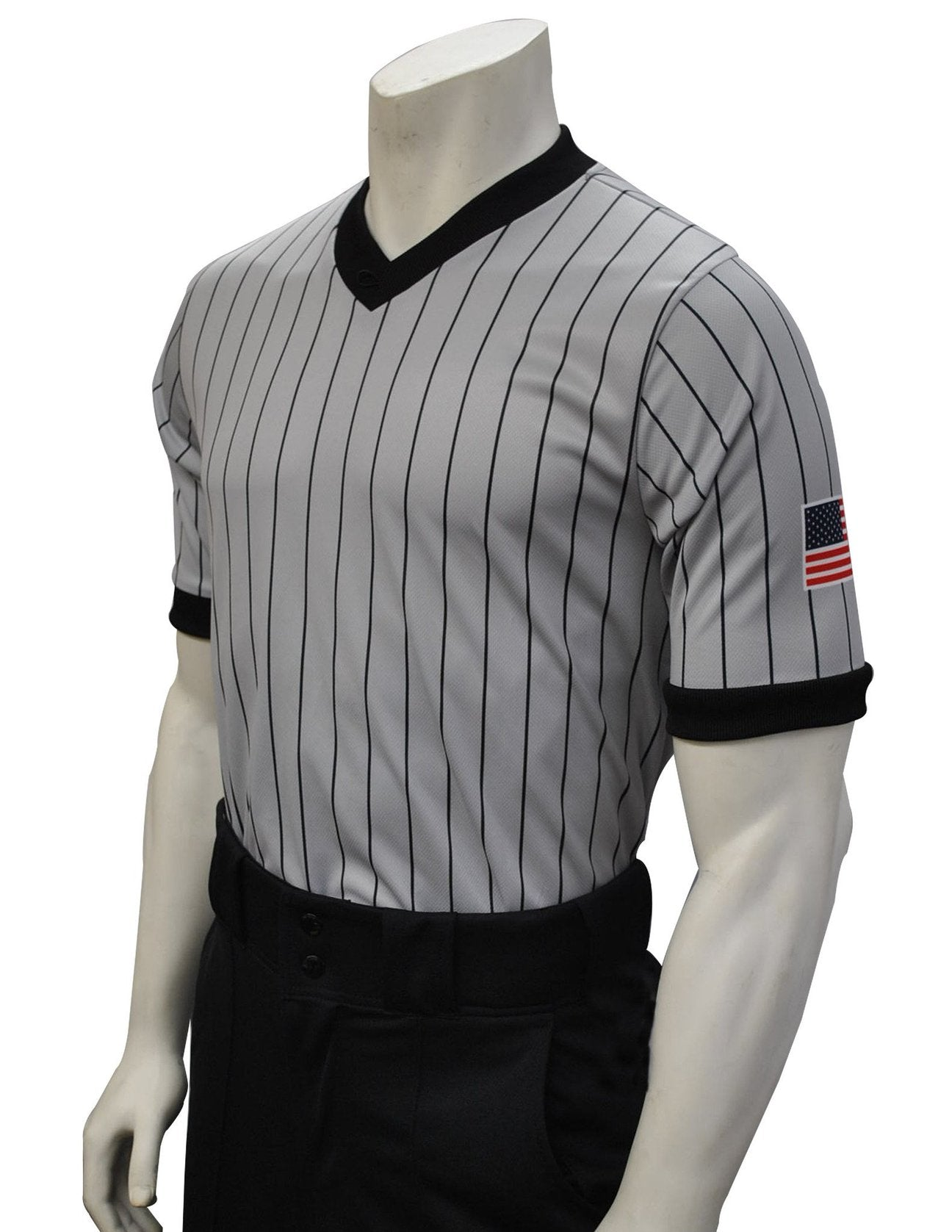 "USA205-607 - Smitty ""Made in USA"" - ""BODY FLEX"" Dye Sub Grey Basketball V-Neck - With USA Flag"