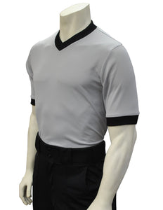 "USA218 - Smitty ""Made in USA"" - Solid Grey Mesh V-Neck Shirt w/ Black Collar and Sleeve Ends"