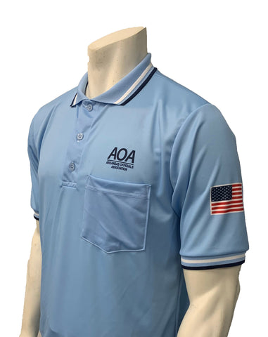 "USA300AR-PB - Smitty ""Made in USA"" - ""AOA"" Short Sleeve Powder Blue Umpire Shirt"