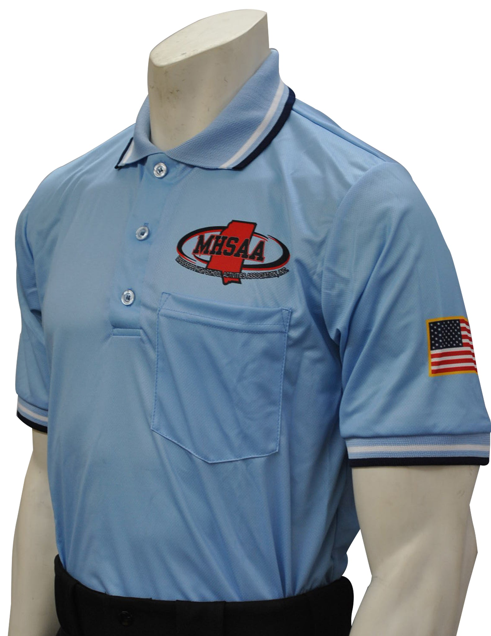 "USA300MS - Smitty ""Made in USA"" - Mississippi Baseball Short Sleeve Shirt Powder Blue"